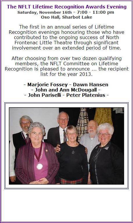 Lifetime Achievement Recipients