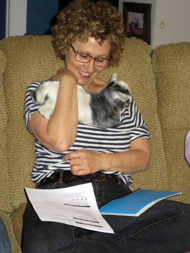 Lynda with baby goat at fair meeting