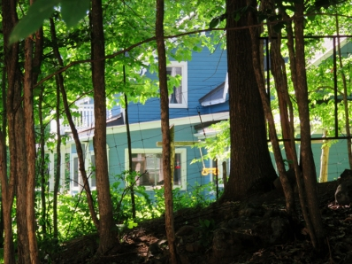 Another thing I love is how our house glows out in the sunshine when you are standing in the cool of the woods.