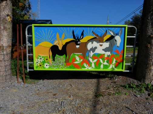 Our beautiful new gate art.