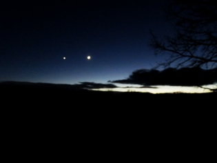 Venus and the Moon hanging out ... although Venus is 370 times further away!