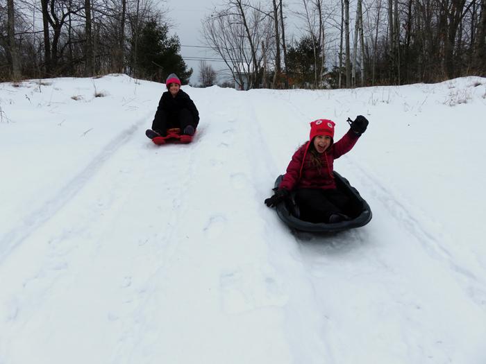 Tractor tracks make perfect sled runs!