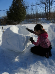 Then out to build with the snow.