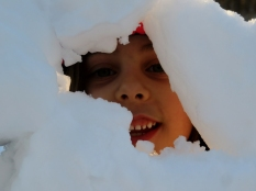The snow wall has a peek-a-boo window.